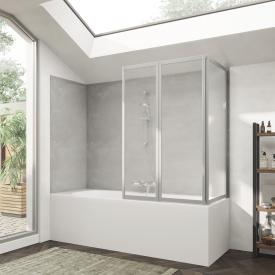 HÜPPE Combinett 2 bath screen with wide first segment acrylic glass Pacific S clear without ANTI-PLAQUE / matt silver