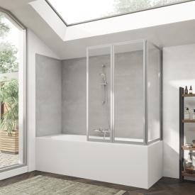 HÜPPE Combinett 2 bath screen with wide first segment clear glass without ANTI-PLAQUE / matt silver