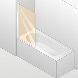 HÜPPE Design elegance bath screen 1 piece TSG clear with ANTI-PLAQUE / matt silver