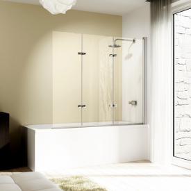 HÜPPE Design elegance bath screen, folding swing door, 3 piece TSG clear with ANTI-PLAQUE / chrome