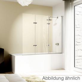 Hüppe Design elegance bath screen, folding swing door, 3 piece TSG privatima with ANTI-PLAQUE / chrome