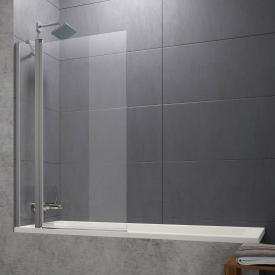 HÜPPE Design pure bath screen 1-part with fixed segment TSG clear without ANTI-PLAQUE / matt silver