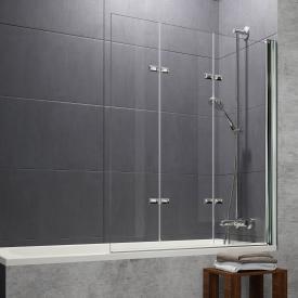 HÜPPE Design pure bath screen folding swing door 3-part TSG clear with ANTI-PLAQUE / chrome