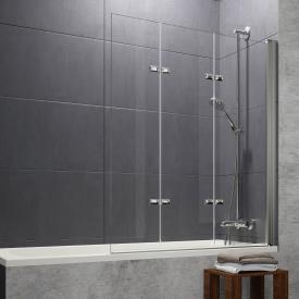 Hüppe Design pure bath screen folding swing door 3-part TSG clear with ANTI-PLAQUE / matt silver