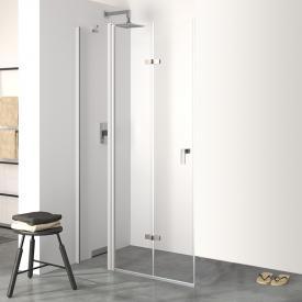 Hüppe Design pure folding swing door with fixed segment TSG clear / matt silver