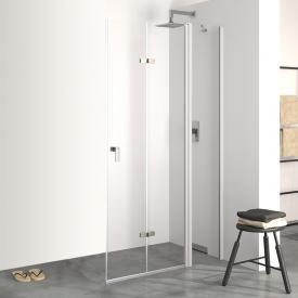 Hüppe Design pure folding swing door with fixed segment TSG clear / matt silver