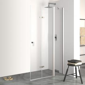 HÜPPE Design pure folding swing door with fixed segment TSG clear with ANTI-PLAQUE / chrome