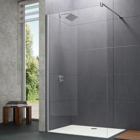 HÜPPE Design pure Paroi latérale simple Verre trempé transparent avec ANTI-PLAQUE/argent mat