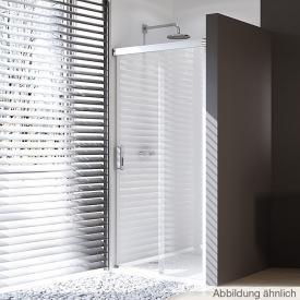 HÜPPE Design pure Porte coulissante rectangulaire en 1 partie avec un segment fixe Verre trempé transparent avec ANTI-PLAQUE / argent ultra brillant