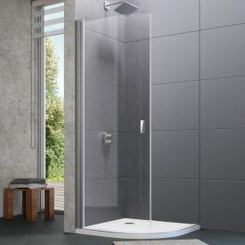 Hüppe Design pure quadrant swing door 2 wings TSG clear with ANTI-PLAQUE / matt silver