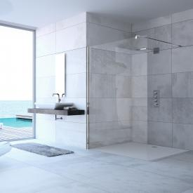 HÜPPE Design pure side panel, freestanding TSG clear with ANTI-PLAQUE / chrome