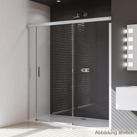 HÜPPE Design pure rectangular sliding door with fixed segment and adjacent piece TSG clear with ANTI-PLAQUE / matt silver