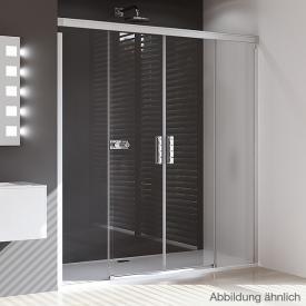 Hüppe Design pure rectangular sliding door 2-piece with fixed segments TSG clear with ANTI-PLAQUE / matt silver
