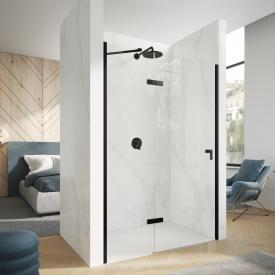 HÜPPE Design pure swing door with fixed segment TSG clear with ANTI-PLAQUE / black edition