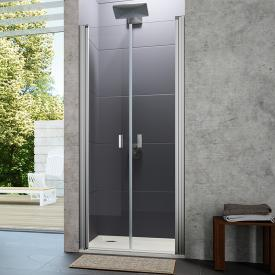 Hüppe Design pure two-way door in recess TSG clear with ANTI-PLAQUE / chrome