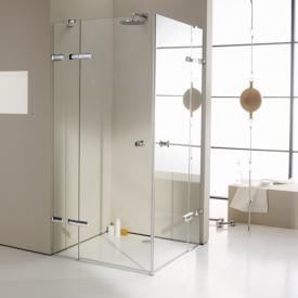 HÜPPE Enjoy elegance frameless corner entry swing door with fixed segments TSG clear / chrome
