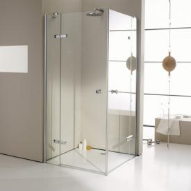 Hüppe Enjoy elegance partially framed corner swing door with fixed segments TSG clear with ANTI-PLAQUE / chrome