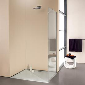 HÜPPE Enjoy elegance partially framed standalone side panel TSG clear with ANTI-PLAQUE / silver high gloss, with stabiliser