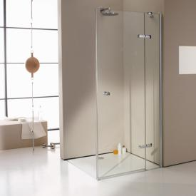 HÜPPE Enjoy elegance partially framed swing door with fixed segment for side panel or corner entry TSG clear with ANTI-PLAQUE / chrome