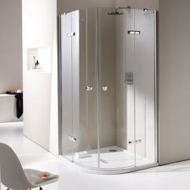 HÜPPE Enjoy elegance partially framed quadrant swing door with fixed segments, 2 wings TSG clear with ANTI-PLAQUE / chrome