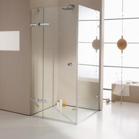 HÜPPE Enjoy elegance frameless swing door with fixed segment and side panel TSG clear with ANTI-PLAQUE / chrome