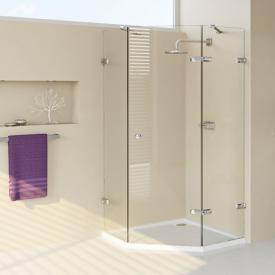 HÜPPE Enjoy elegance frameless pentagonal swing door with fixed segments TSG clear with ANTI-PLAQUE / chrome