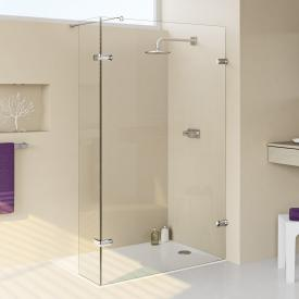HÜPPE Enjoy elegance frameless Walk In side panel with moving segment TSG clear with ANTI-PLAQUE / chrome