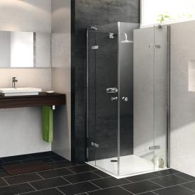 HÜPPE Enjoy pure partially framed corner swing door with fixed segments TSG clear / chrome