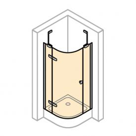 HÜPPE Enjoy pure partially framed quadrant swing door with fixed segments, 1 wing TSG clear with ANTI-PLAQUE / chrome