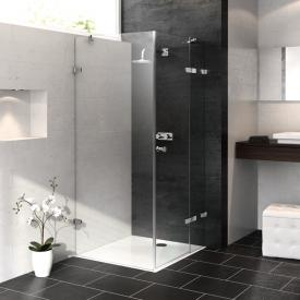 HÜPPE Enjoy pure frameless swing door with fixed segment and side panel TSG clear with ANTI-PLAQUE / chrome