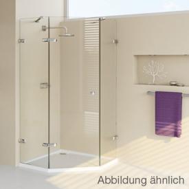 HÜPPE Enjoy pure frameless pentagonal swing door with fixed segments, 1 wing TSG clear / chrome