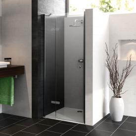 HÜPPE Enjoy pure partially framed swing door with fixed segment in recess TSG clear with ANTI-PLAQUE / chrome