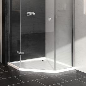 HÜPPE Purano pentagonal shower tray with antislip white with anti-slip coating