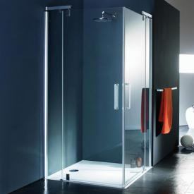Hüppe Refresh pure rectangular swing door corner entry with fixed segments clear glass with ANTI-PLAQUE / shiny chrome