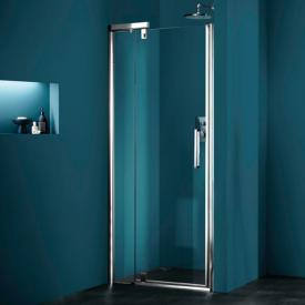 HÜPPE Refresh pure rectangular swing door with fixed segment in recess clear glass with ANTI-PLAQUE / titan silver