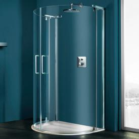Hüppe Refresh pure D-shape swing door with fixed segments clear glass with ANTI-PLAQUE / shiny chrome