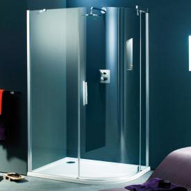 HÜPPE Refresh pure quadrant swing door with fixed segments clear glass with ANTI-PLAQUE / matt silver