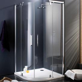 Hüppe Refresh pure quadrant swing door with fixed segments clear glass / matt silver