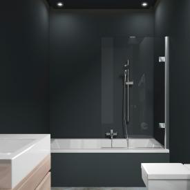 HÜPPE Solva pure partially framed bath screen 1 piece TSG clear with ANTI-PLAQUE / chrome