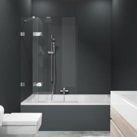 HÜPPE Solva pure frameless bath screen 1 piece with fixed segment TSG clear / chrome