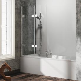 Hüppe Solva pure partially framed bath screen folding swing door TSG clear / chrome
