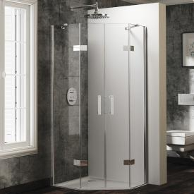 Hüppe Solva pure partially framed pentagonal swing door with fixed segments 2 wings TSG clear with ANTI-PLAQUE / chrome
