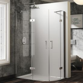 HÜPPE Solva pure partially framed quadrant swing door with fixed segments 2 wings TSG clear / chrome