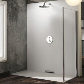 HÜPPE Solva pure partially framed side panel for door with fixed segment and side piece TSG clear with TIMELESS / chrome