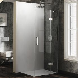 Hüppe Solva pure partially framed swing door with fixed segment for corner entry TSG clear with ANTI-PLAQUE / chrome