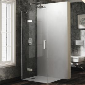 HÜPPE Solva pure partially framed swing door with fixed segment for corner entry TSG clear / chrome