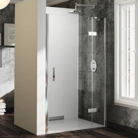 HÜPPE Solva pure partially framed swing door with fixed segment in recess TSG clear / silver high gloss