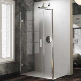 Hüppe Solva pure partially framed swing door with side part for side panel TSG clear with ANTI-PLAQUE / chrome