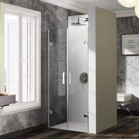 Hüppe Solva pure frameless two-way door in recess TSG clear with TIMELESS / chrome