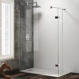 Hüppe Solva pure partially framed walk-in side panel with movable segment TSG clear with TIMELESS / chrome
